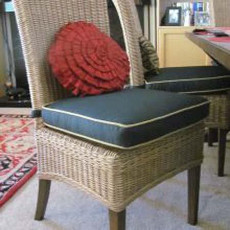 Blue Cushion Wicker Chair