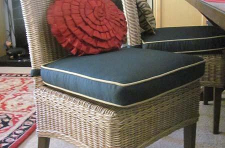 Cushion Chair Wicker Blue Custom Cushions Custom Accessories